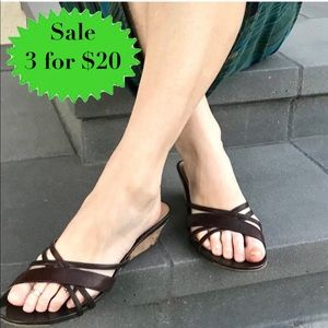 KENNETH COLE brown leather sandals slides wedges
